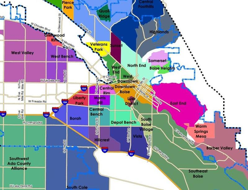 Map showing different neighborhoods around Boise.