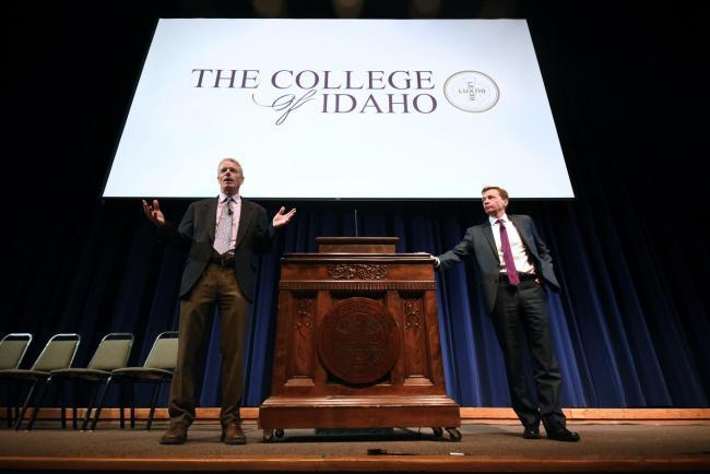 College of Idaho co-presidents Jim Everett (l) and Doug Brigham (r)