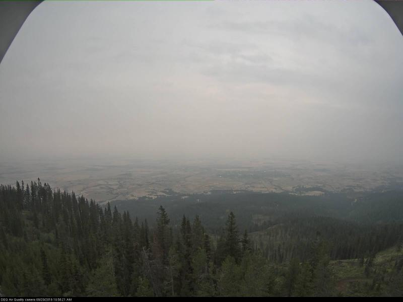 A view of Grangeville captured by the Department of Environmental Quality's visibility cameras on the morning of August 20 shows the thick and murky smoke-filled air.