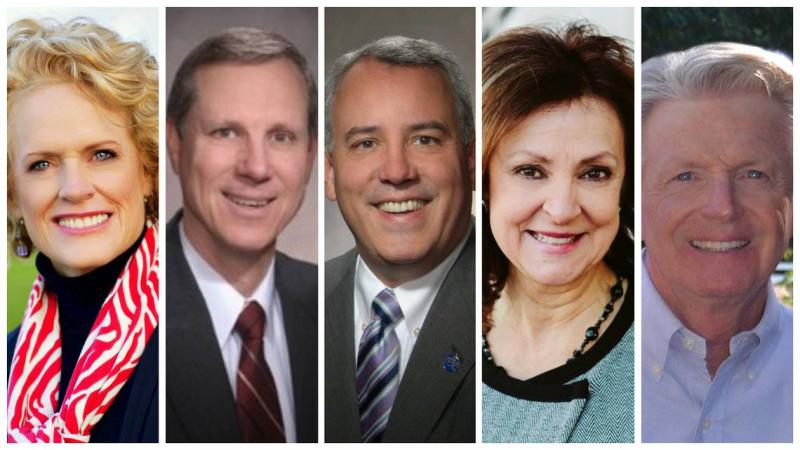 Five Treasure Valley mayors will speak at a forum focusing on growth and vision for the future. From left, Meridian Mayor Tammy de Weerd, Garden City Mayor John Evans, Boise Mayor Dave Bieter, Nampa Mayor Debbie Kling and Eagle Mayor Stan Ridgeway.