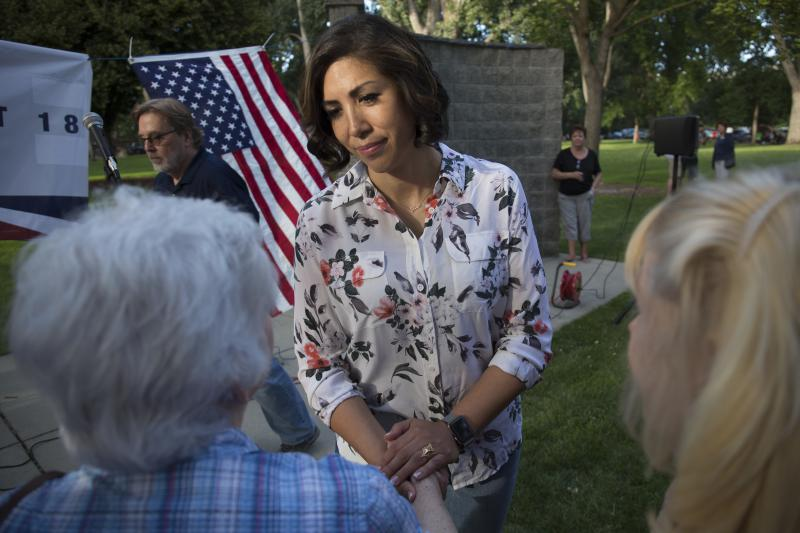 Democratic gubernatorial candidate Paulette Jordan greets attendees during the Idaho District 18 Democrats Campaign Kickoff BBQ in Boise, Idaho, Thursday, June 28, 2018.