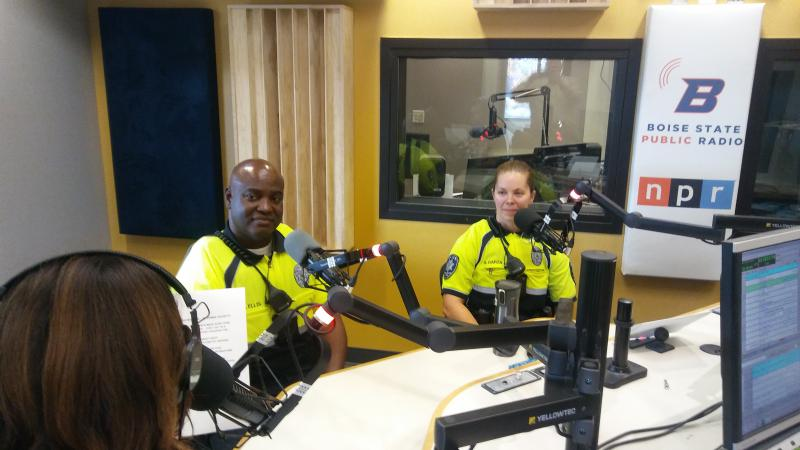 West Ada County School District resource officers Ray Ellis and Shannon Garza.