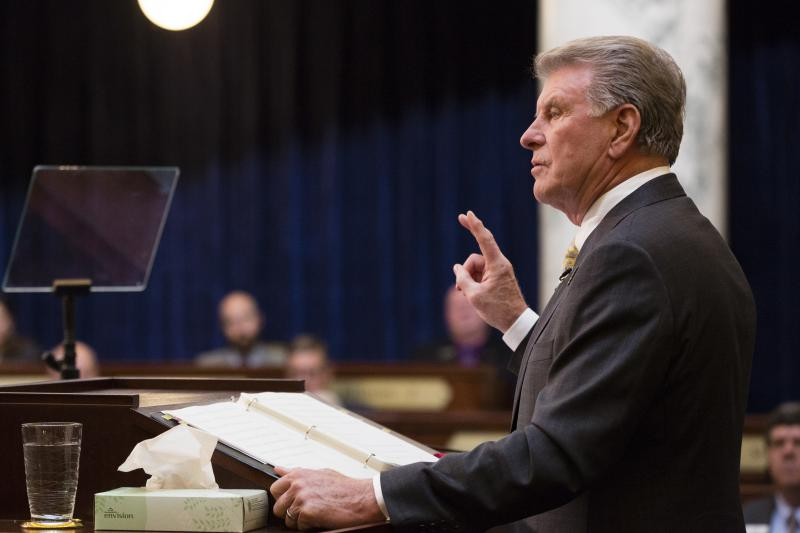 """Idaho Gov. C.L. """"Butch"""" Otter delivers his State of the State address inside the house chambers at the state Capitol building, Monday, Jan. 8, 2018 in Boise, Idaho."""
