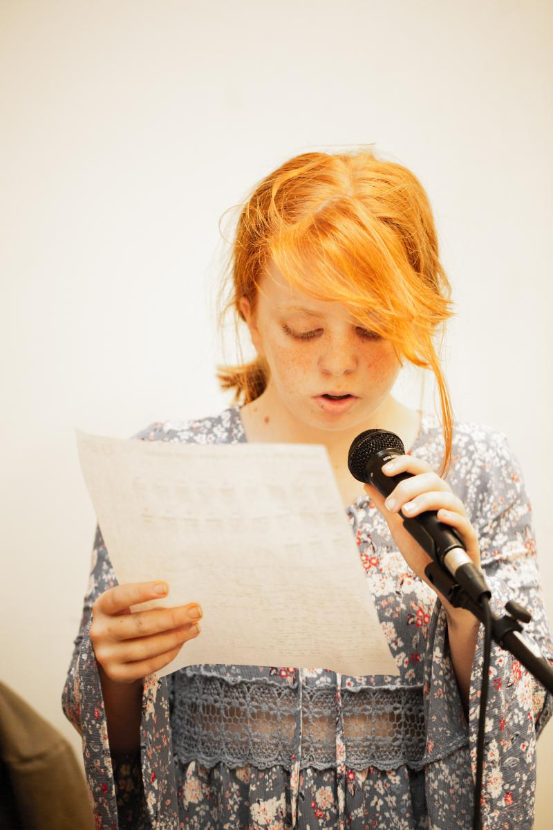Boise Rock School student Carly working on her vocals.