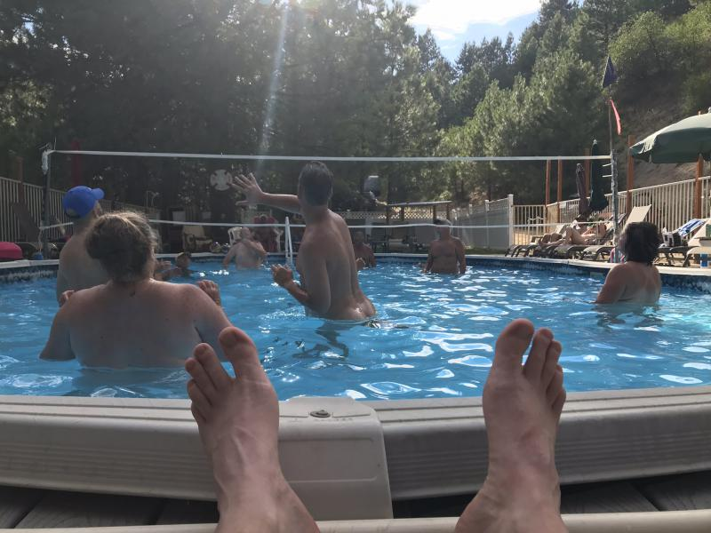 Pool volleyball might just be the most serious thing at Bare Mountain Retreat.