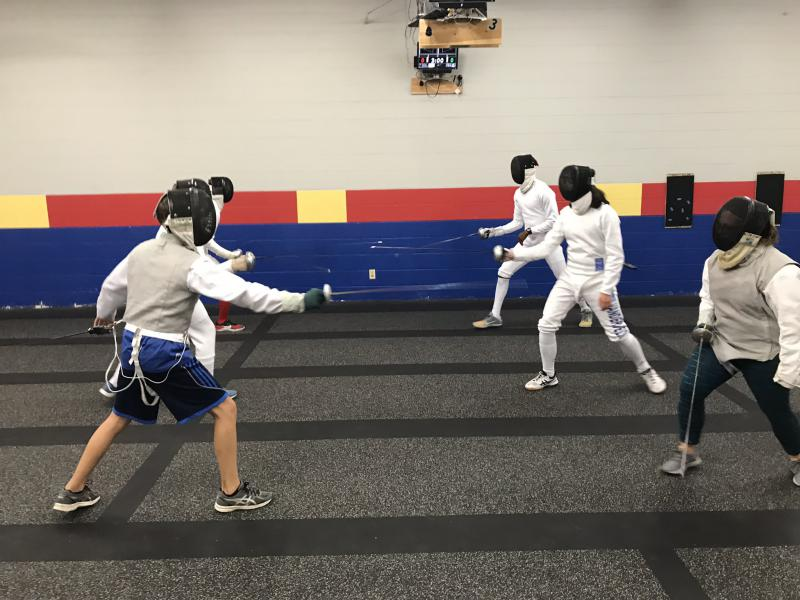 #protip: If you're going to try fencing for the first time, spar with someone your own size. Trust us, it will make you feel better.