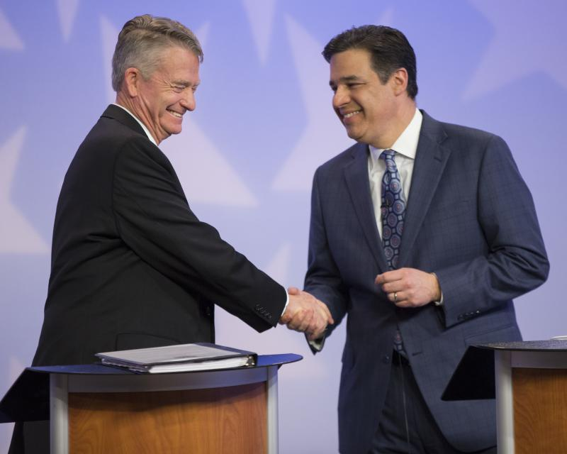 Lt. Gov. Brad Little, left, and Rep. Raul Labrador, R-Idaho, shake hands after a debate at the studios of Idaho Public Television in Boise, Idaho, Monday, Apr. 23, 2018.