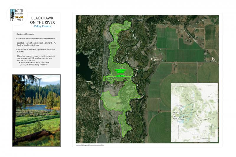 This map shows one of the properties placed in a conservation easement by the Payette Land Trust.