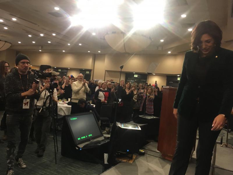 Paulette Jordan walks off stage at the Grove Hotel in Boise.
