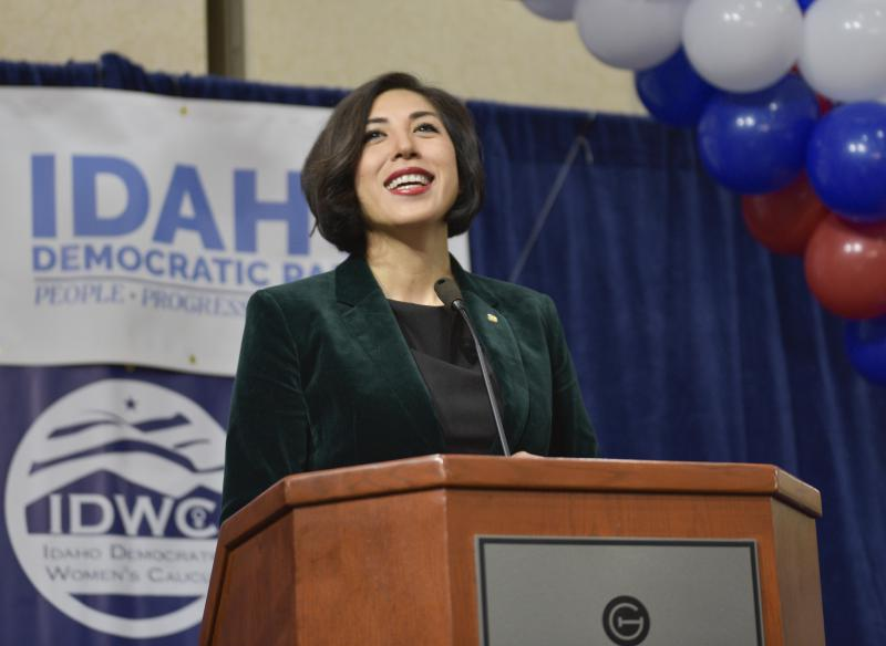 Democratic gubernatorial candidate Paulette Jordan addresses supporters at an election night party Tuesday, Nov. 6, 2018, in Boise, Idaho.