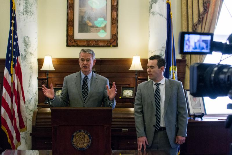 Governor-elect Brad Little, left, announces his transition team from the governor's ceremonial office at the Idaho Capitol. Brian Wonderlich, a partner at Holland & Hart, right, chairs Little's committee.
