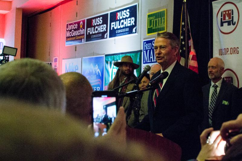 Republican Governor-elect Brad Little greets a jubilent crowd during his victory speech Tuesday night.