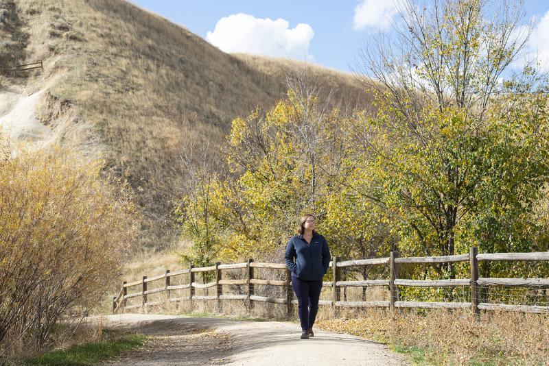 Kathryn Demps hiking behind Camel's Back Park.
