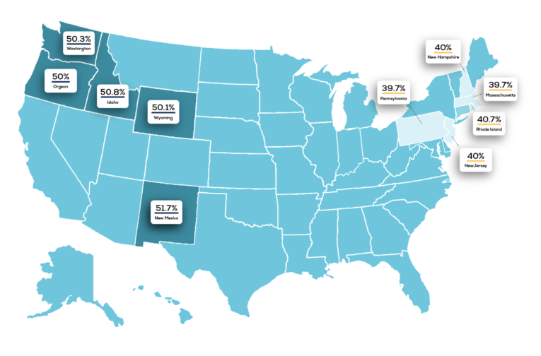 This map shows the states with the highest percentage of women-owned businesses.