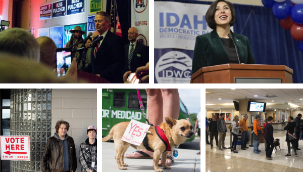 Images from 2018 Election Day in the Treasure Valley - Republican candidate Brad Little won the Idaho Governorship (top left) and Paulette Jordan delivers a concession speech after losing to Little (top right).