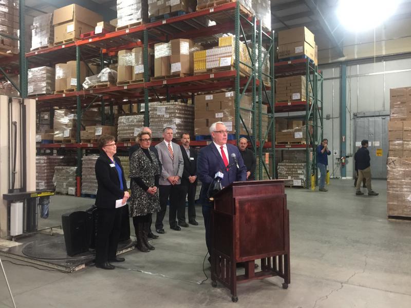 Mayor David Bieter speaking at the press conference at the Idaho Foodbank