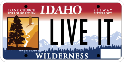 Idaho's Wilderness License Plate featuring the Selway-Bitterroot and Frank Church River of No Return Wilderness areas.