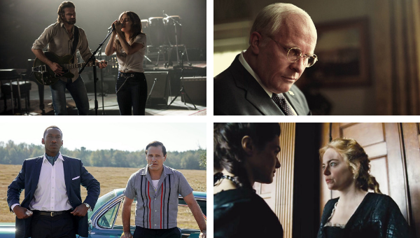 2019 Golden Globe nominees: (clockwise from top left) Bradley Cooper and Lady Gaga in 'A Star is Born' / Christian Bale as Dick Cheney in 'Vice' / Rachel Weisz and Emma Stone in 'The Favourite' / Mahaershala Ali and Viggo Mortensen in 'Green Book.'