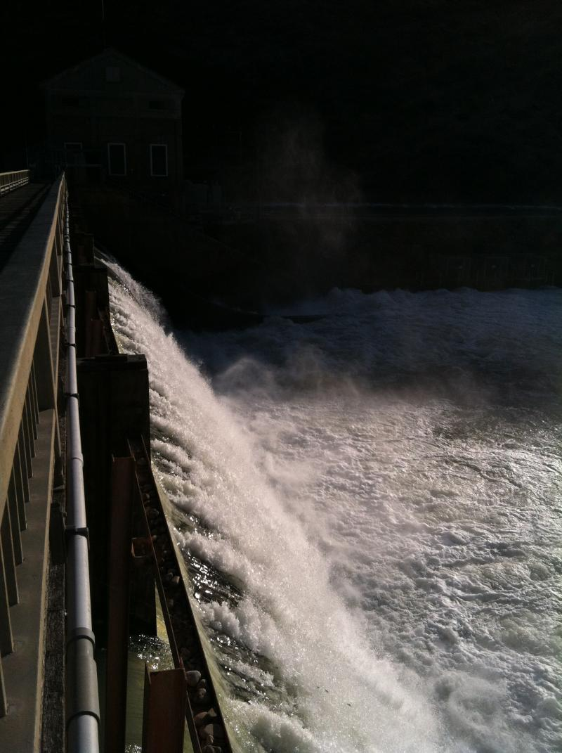 The Diversion Dam just below Lucky Peak Reservoir spills water down the Boise River.
