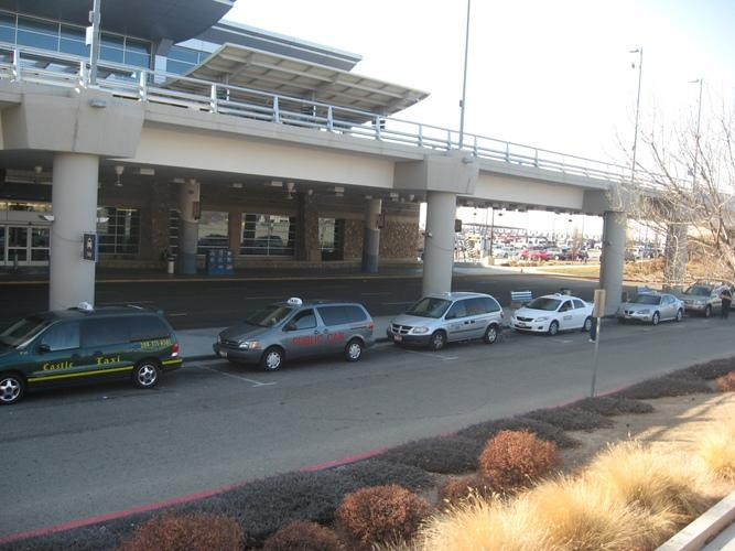Taxis wait for pasengers at Boise's airport