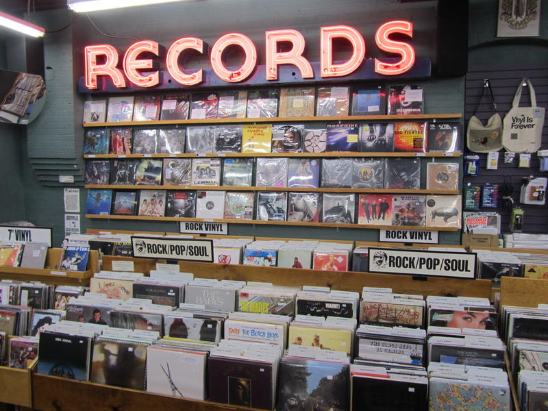 A wall of records in The Record Exchange, Boise, ID.