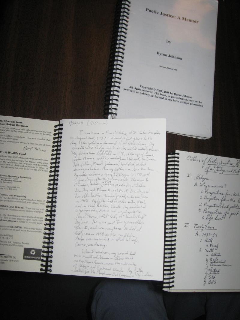"Original journals and manuscript that became the book ""Poetic Justice"""