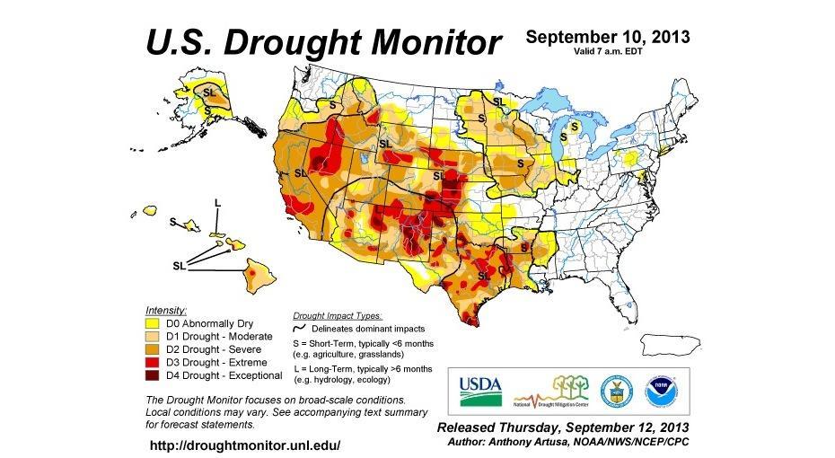 Us Map Rainfall Globalinterco - Us drought map california