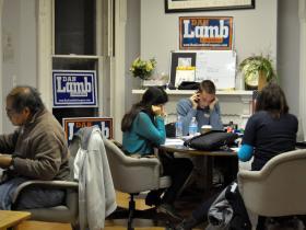 Supporters of Democratic congressional Candidate Dan Lamb make calls in Lamb's Binghamton office.