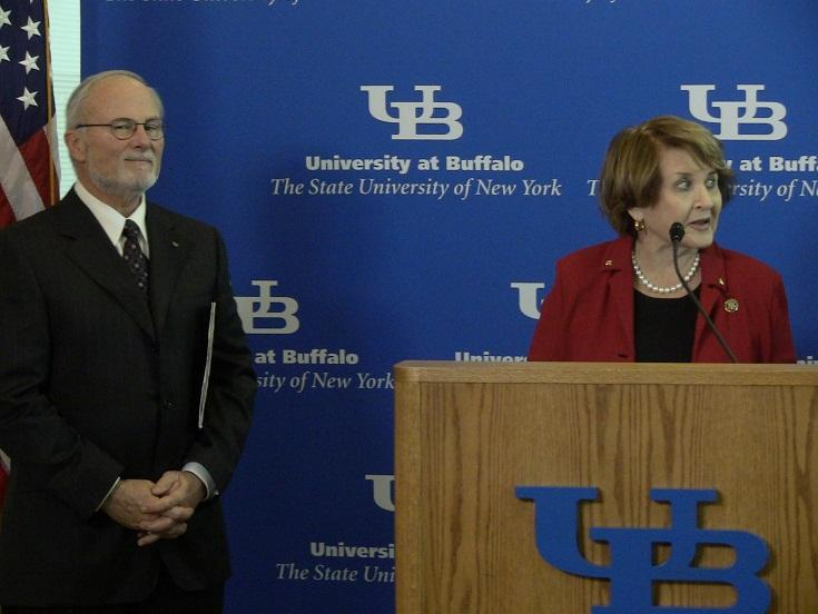 UB President John Simpson and Rep. Louise Slaughter