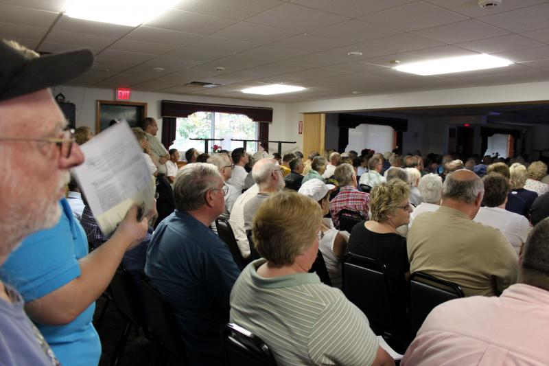 A crowds of hundreds at a meeting on intrepreting water test results at the Towanda Gun Club in Pennsylvania.