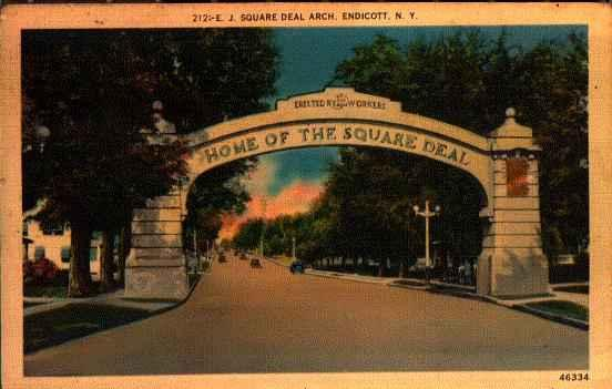 Welcome arch between Binghamton and Endicott, constructed by Endicott-Johnson employees to honor their employer.