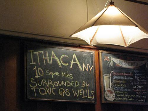 "A play on the Ithaca mock-slogan: ""Ten Square Miles, Surrounded by Reality"""