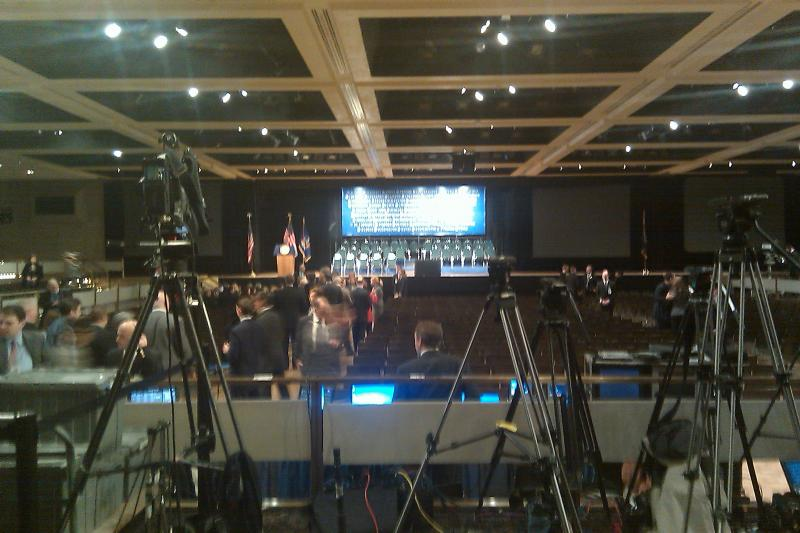 Camera crews and reporters, awaiting the governor's arrival at the Empire State Plaza.