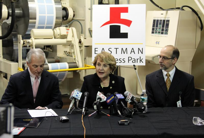 Rep. Louise Slaughter playing matchmaker. She's lobbying the Department of Energy for a grant that would bring together Kodak and New Jersey solar company Natcore. That's Natcore CEO Chuck Provini, left, and Kodak's Mike Alt, right.