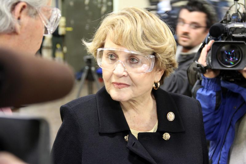 Rep. Louise Slaughter touring one of Kodak's manufacturing facilities.