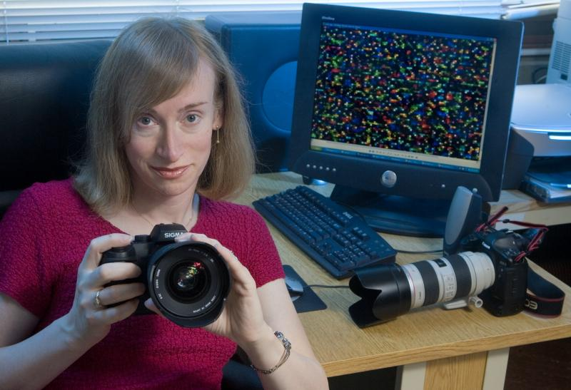 The image at right is a camera's digital fingerprint. At left: researcher Jessica Fridrich.