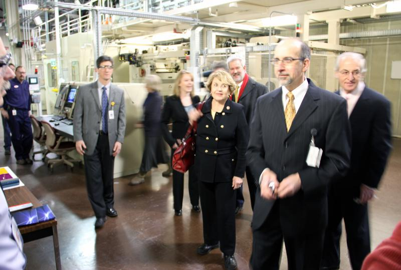 New Jersey-based Natcore says it's still working with Rep. Louise Slaughter to find a way to set up shop in Rochester. Above, Slaughter, Kodak's Mike Alt and Natcore CEO Chuck Provini tour Kodak's Eastman Business Park in February.