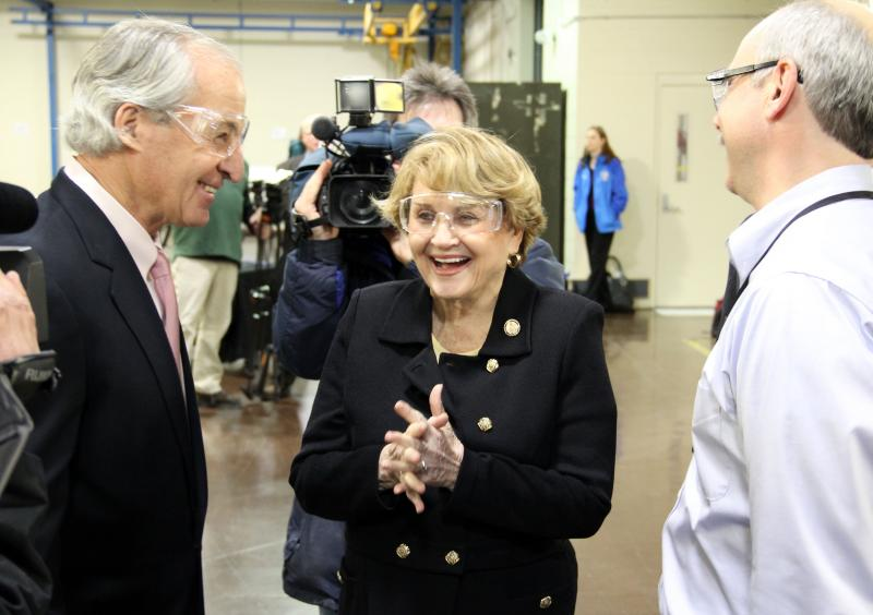 Natcore CEO Chuck Provini, left, and Rep. Louise Slaughter at Kodak's Eastman Business Park in February. Natcore announced today that it's establishing a research center there.