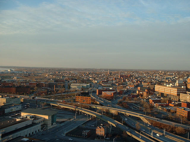 Interstates 81 and 690 meet above downtown Syracuse.
