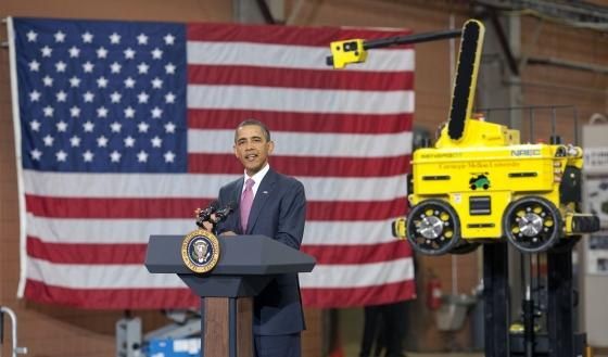 President Obama announcing the Advanced Manufacturing Partnership (AMP) at Carnegie Mellon University in Pittsburgh, Pa.