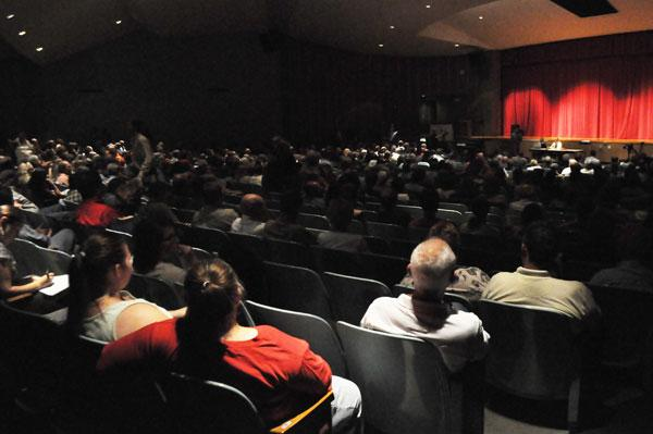 A packed house at Watkins Glen High School Tuesday night listens to speakers for and against the proposed gas storage facility.