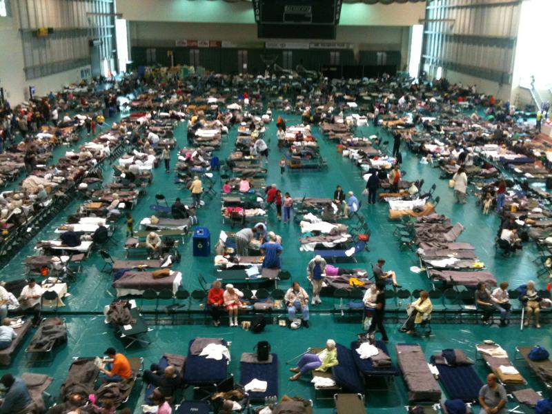 Evacuees, at the Red Cross shelter at Binghamton University's events center.