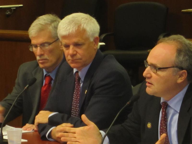 The DEC's chief legal counsel, Steve Russo (right) was joined by Commissioner Joe Martens (center) and the agency's executive deputy commissioner, Marc Gerstman (left) in defending the agency's report on hydrofracking.