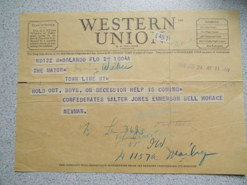 When a vote to re-join the Union (or not) was announced, postcards rolled in from around the country. Here's one from Orlando, FL, urging Town Line to stay put.