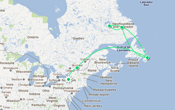Here's the route the Innovation Trail will be taking to travel to where the power lines end: New York to Quebec, to Newfoundland & Labrador, and back.