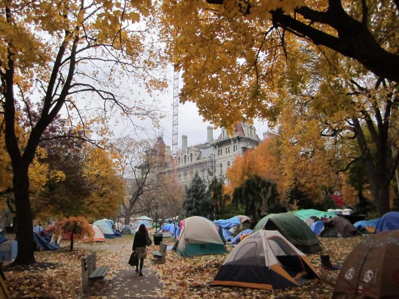 Occupy Albany's encampment sits in the shadow of New York's capitol.