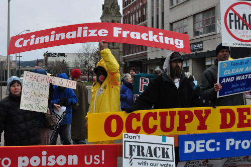 Demonstrators gathered early outside the Forum Theatre in Binghamton before Thursday's public hearing on fracking.