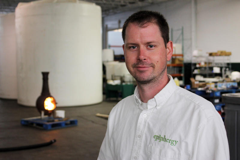 Graham Fennie, founder and CEO of Epiphergy. Some of the company's clean-burning ethanol helps keep workers warm during the winter.