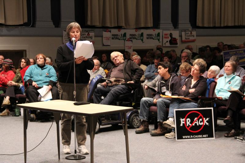 Ruth Marchetti, of the Catholic Diocese of Rochester's public policy committee, testifies at a DEC hearing about fracking on November 16 in Dansville, N.Y. More than 6,000 people attended four hearings held across the state.