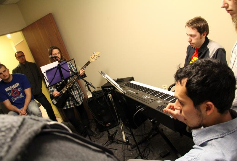 Band practice in High Falls. That's Phelim White, founder of M5's Rochester office, in the doorway.